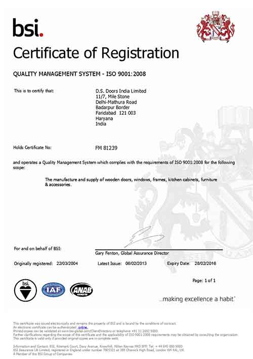 BSI Registration Certificate